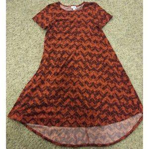 Lularoe Carly Dress Orange/Black